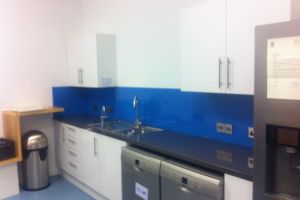 Blue splash back, Intec Basingstoke.