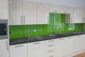Green painted and toughened glass splashbacks, Chineham.