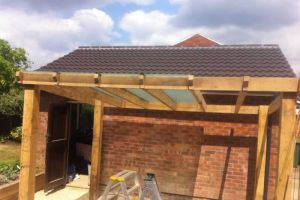 Glazed roof to oak pergola, old Basing.