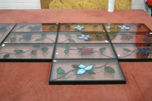 Flowered ivy leaded detail units being processed at our factory.